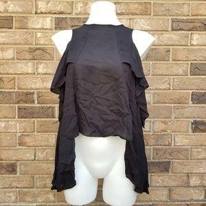 🆕️Solid Silk Cold Shoulder Ruffle Tank